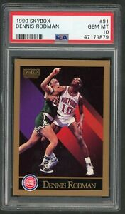 Dennis-Rodman-Detroit-Pistons-1990-Skybox-Basketball-Card-91-Graded-PSA-10