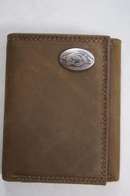 Zep-Pro Arkansas Razorback Men/'s Leather TriFold Wallet Brown With Box