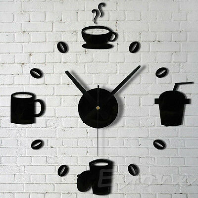 New 3D Acrylic Mirror Coffee Wall Clocks Decal Fashion DIY Modern Design Black