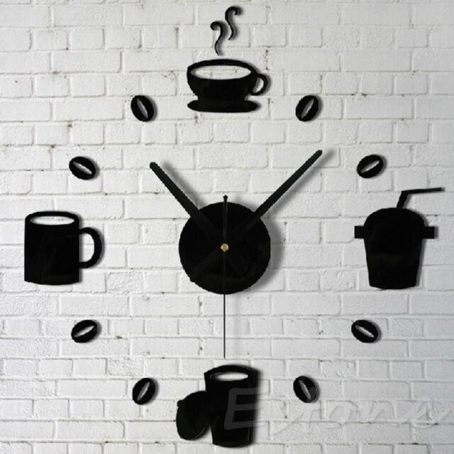 DIY Wall Clocks Modern Coffee Cups Design Home Decor Living Room Kitchen Clock
