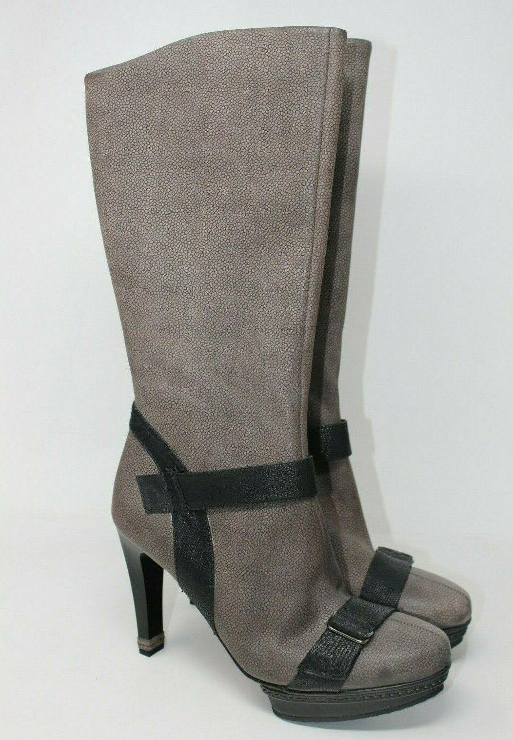 Bcbgmaxazria Pebble Leder Hoch Plateau Stiefel in Grau Schwarz Größe Größe Größe  11 Us  2  | Hat einen langen Ruf  50c8f6