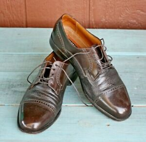 Vintage Florsheim Brown Cap Toe Oxford Loafers Shoes Mens Size 8.5 D Unisex