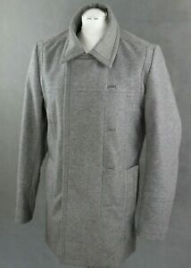 REISS-Mens-Grey-CHESTERFIELD-Wool-Blend-COAT-JACKET-Size-Large-L