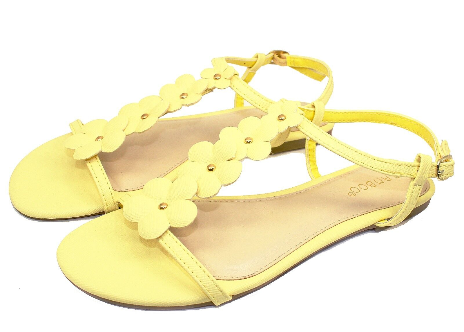 Caleb-10 New Party Gladiator Floral Stone Flats Cute Sandals Party New Women Shoes Yellow 4ff639