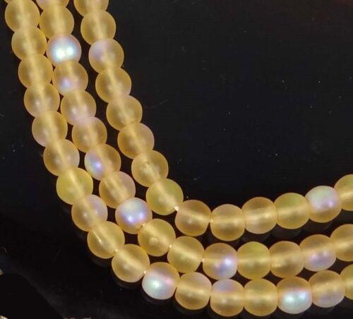 Medium Topaz 4mm 100 Czech Glass Round Beads Matte//AB moonstone