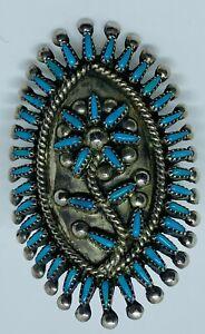 Vintage-Signed-V-S-JOHNSON-Zuni-Petit-Point-Floral-Motif-Blue-Gem-Turquoise-Ring