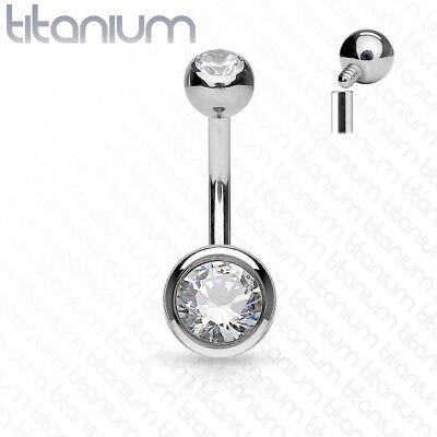 SOLID TITANIUM INTERNAL Thread GEM STUD Belly Button Navel Barbell RING Piercing