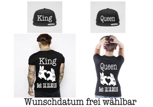T-Shirts mit King Queen Motiv 5XL Caps 4er Set Partner Look Wunschdatum XS