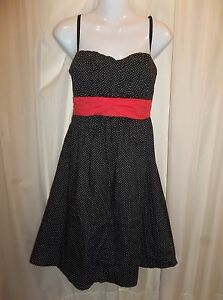 d041405006b7 MAURICES Jr. Women's BLACK POLKA DOT Sun Dress Size 7/8 | eBay