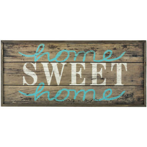 Rustic Country Home Sweet Home Turquoise White Faux Wood Pallet