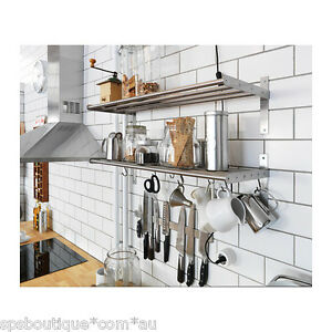 Ikea Shelf Rail Hook 80cm Kitchen Organizer Set Stainless