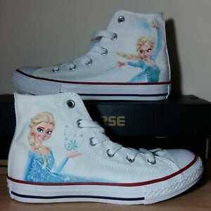 Dettagli su Converse All Star Frozen Bambina Donna Stivaletto Tela Walt Disney [Artigianale]