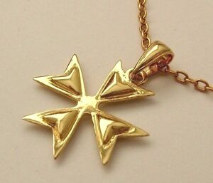 Large solid 9k 9ct yellow gold maltese cross pendant 702658832858 ebay image is loading large solid 9k 9ct yellow gold maltese cross mozeypictures Image collections