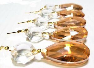 5-Golden-Champagne-Teardrop-Chandelier-Crystals-38mm-Pendant-Diamond-Cut-Octagon