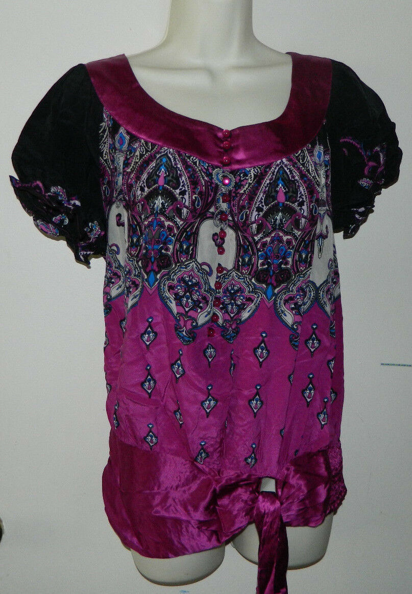 New damen 100% Silk Bebe Paisley Multi-Farbe Short Sleeve Beiläufig Work S NWT