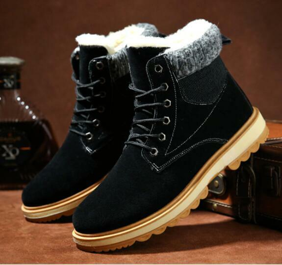 Mens High Top Snow Ankle Boots Lace Up Platform Casual shoes Velvet Lined Warm