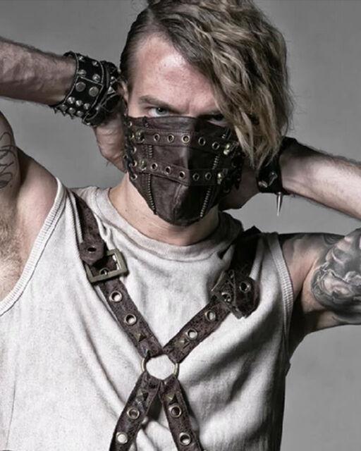 Punk Rave Mens Dieselpunk Mask Mouthguard Black Gothic Faux Leather Spikes Bane