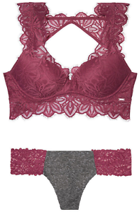b0a0aa0a07b58 Victoria s Secret Pink Lace Date Push-up Bralette   Lace Panties Bayberry L  NWT
