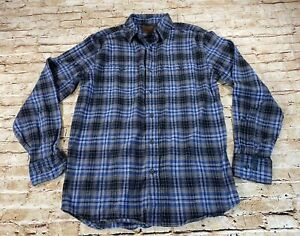 Woolrich-Mens-Medium-Black-Blue-Plaid-Flannel-Long-Sleeve-2-Pocket-Button-Shirt