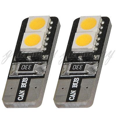 2x Warm White T10 194 168 W5W 4 SMD 5050 LED Bulb Vehicle Car Canbus Light