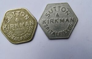 2x SUTTON & KIRKMAN, SPITALFIELDS MARKET, 5 SHILLINGS TOKENS, DIFFERENT TYPES
