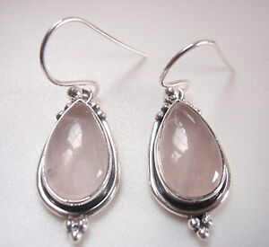 Rose-Quartz-Teardrop-925-Sterling-Silver-Dangle-Earrings-with-Silver-Dot-Accents