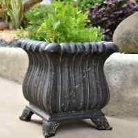 "NEW 16"" Tall Aged Charcoal Cast Stone Garden Urn Planter Flower Plant Pot Decor"