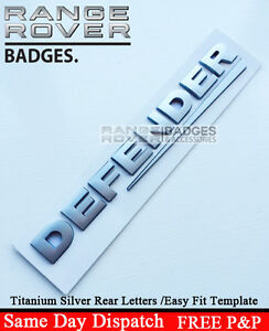 image is loading defender rear silver 3d lettering badge emblem 3d