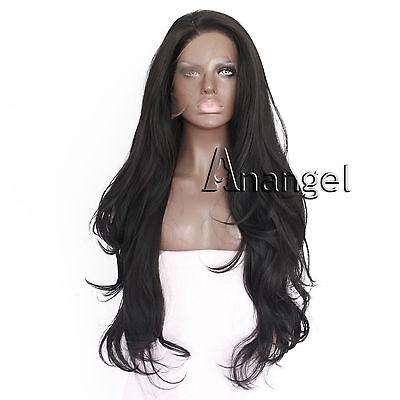 Wig cap+Women Long Black Synthetic Hair Lace Front Wig Long Wavy Heat Resistant