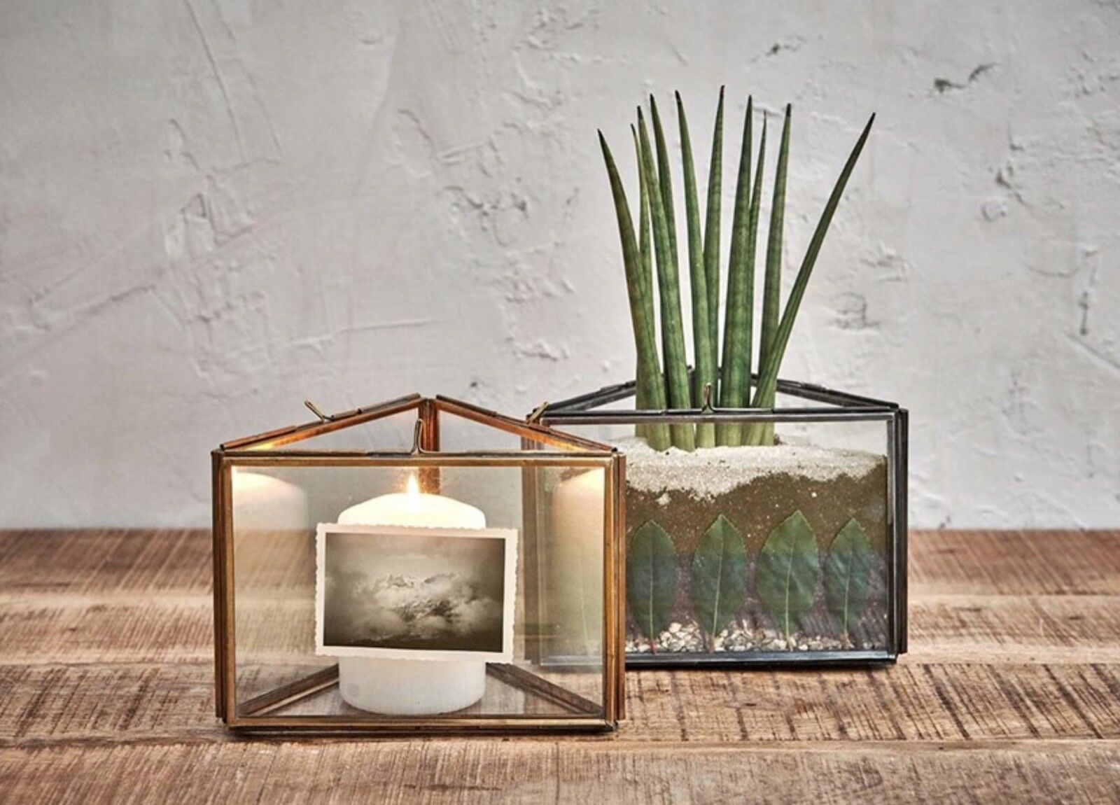 3 Frame Gold Brass Triangle Picture Photo Candle Holder Planter Danta Nkuku