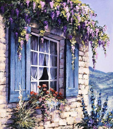 Reint Withaar  Window I Keilrahmen-Bild Leinwand Fenster Idylle Romantik