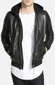 Diesel Men s Akura Black Hooded Real Leather Bomber Jacket XXL New ... f000b619742d