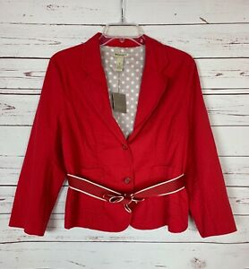 Elevenses-Anthropologie-Women-039-s-Size-14-Red-Button-Jacket-Blazer-NEW-With-TAGS