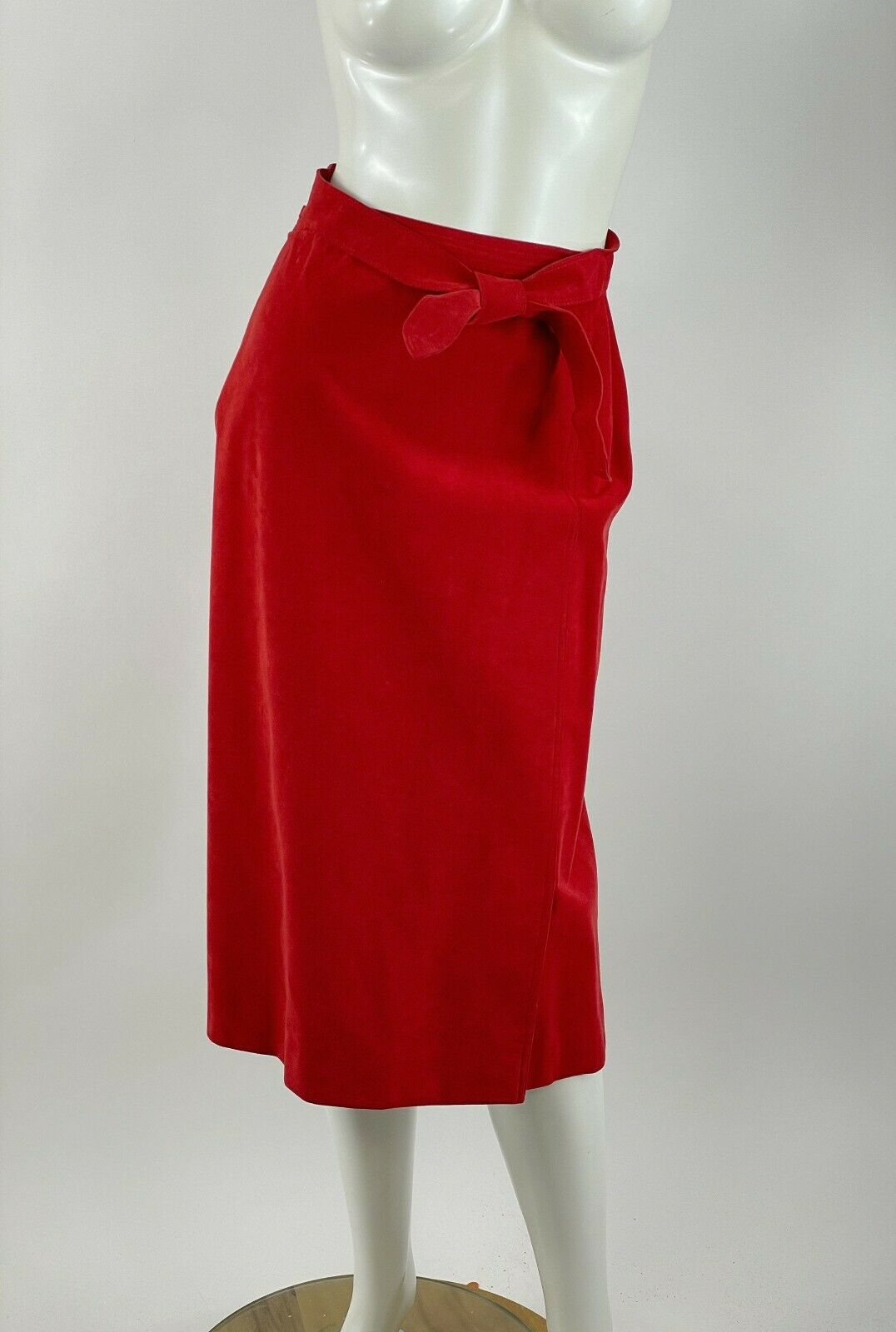 1980s Pauline Trigere red suede wrap coat and Abe… - image 6