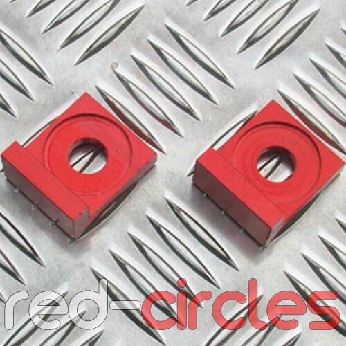12mm RED ALLOY L BLOCK PIT DIRT BIKE CHAIN TENSIONERS ADJUSTERS 110cc 125cc 140
