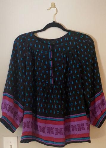 Vintage Anna Sui Silk Printed Blouse 8