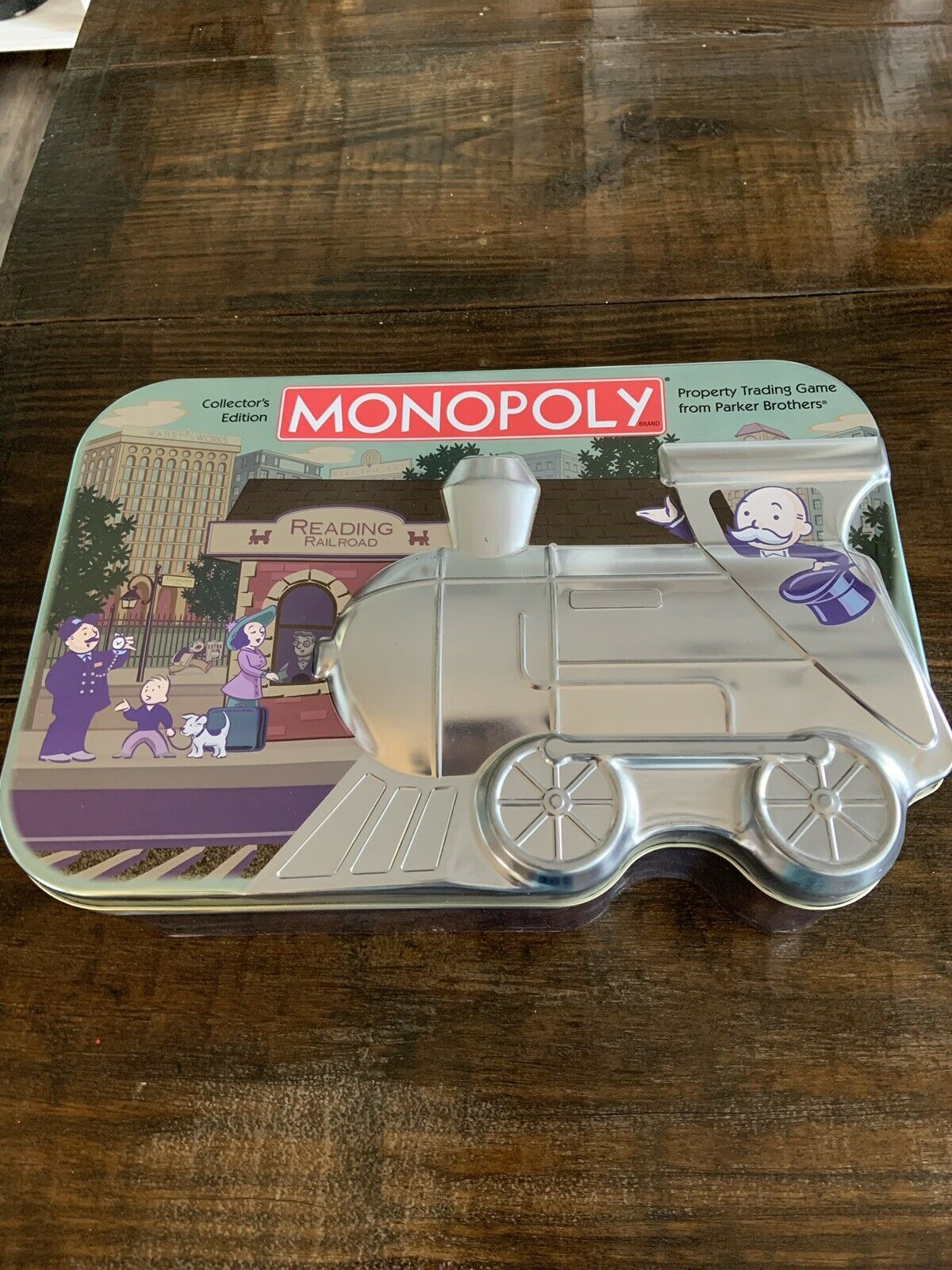 Monopoly Collectors Edition Embossed Metal Train Tin Board Game