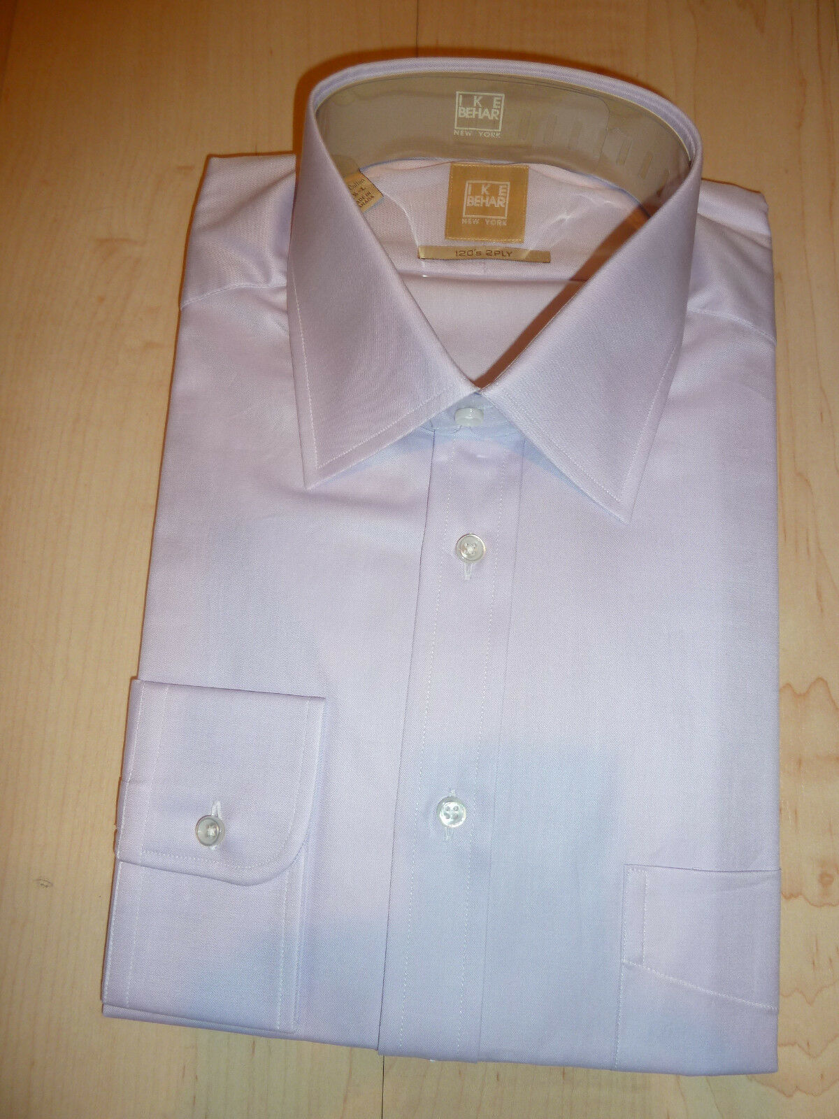 NEW 220+ IKE BEHAR  Herren Dress SHIRT 15.5 L 34 35 Lavender Canada Cotton GOLD BC