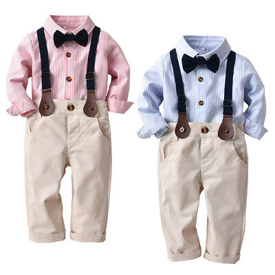 2pcs Toddler Kids Baby Boys Shirt Tops+Strap Pants Clothes Outfits Gentleman Set