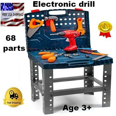 Enjoyable Kids Tool Set With Drill Work Bench Screws For Boys Workshop Squirreltailoven Fun Painted Chair Ideas Images Squirreltailovenorg