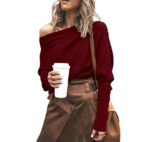 Damen Lose Pullover Pulli Tunika Oberteile Fledermausärmel One Shoulder Tops Neu