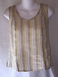 FLAX-Jeanne-Engelhart-Shapely-Yellow-Green-Striped-Linen-Tunic-Top-Tank-Shirt-S