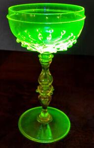 Vaseline-Glass-Ornate-Stem-Work-Czech-Wine-Glass-Egermann-Design-Fine-1890-039-s