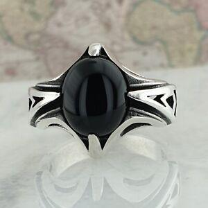 Sólido anillo de hombre plata esterlina 925 con piedra de ónice negro