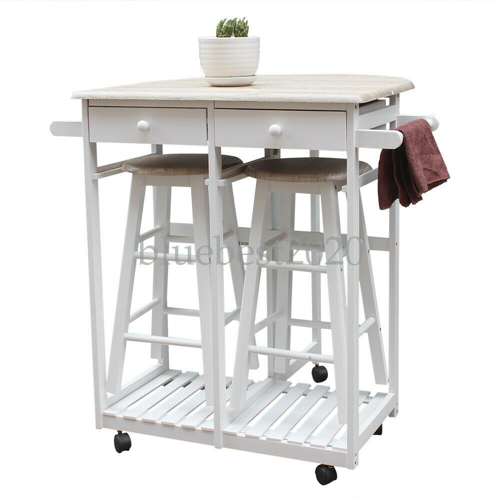 FCH Kitchen Island Cart Trolley Portable Rolling Storage Dining Table  w/Stools