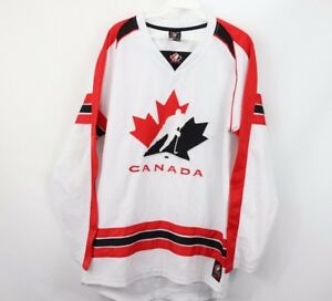 Mens-Small-Canada-Hockey-National-Team-Olympics-Spell-Out-Jersey-White-Red