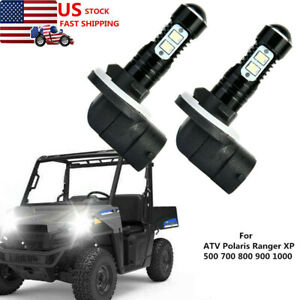 2pcs Led Headlight Bulb For Atv Polaris Ranger Xp 500 800 900 1000 2007 2018 Ebay