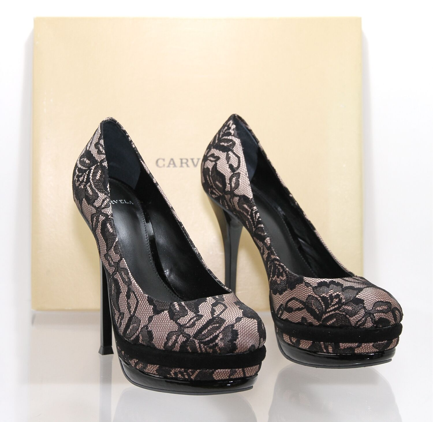 CARVELA ' ARROGANT'  BLACK LACE PLATFORM HIGH HEEL SHOE UK 4 EUR 37 BNIB