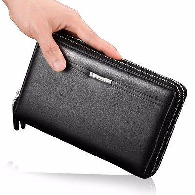 Men's Leather Business Clutch Zip Long Wallet Credit Card Holder Purse Checkbook
