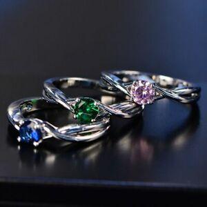 Damen-Ring-Echt-Silber-925-3-Farben-Zirkonia-Edelstein-Damenringe-Geschenk-Neu